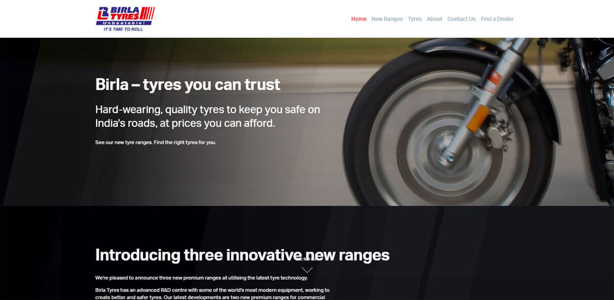 Website design for Leading Tyre Manufacture