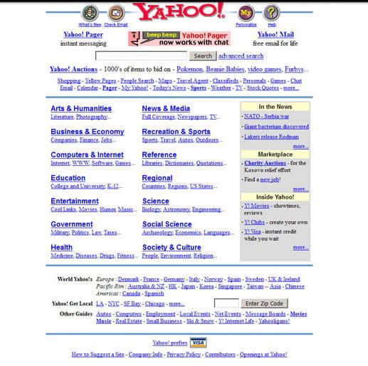 Yahoo old website design